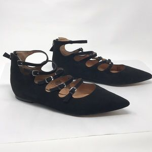 Halogen leather pointed flats black 9